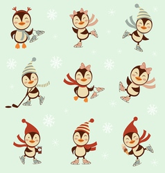 Winter penguins set vector