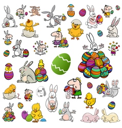 Big easter cartoon collection vector