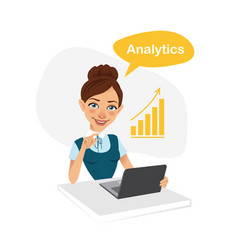 Girl is engaged in analytics business character vector