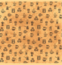 coffee seamless pattern background with icons vector image