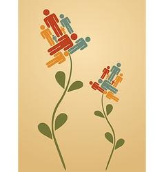 Teamwork flowers vector