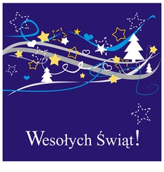 Christmas card in polish wesolych swiat vector