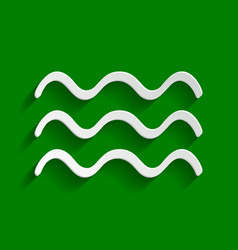 Waves sign paper whitish vector