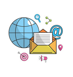 Global e-mail message technology icon vector