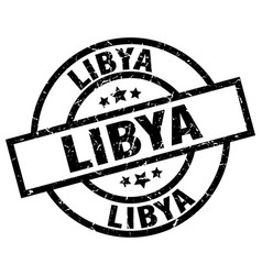 Libya black round grunge stamp vector