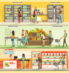 People in supermarket horizontal colorful banners vector