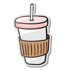 Paper coffee cup sticker vector