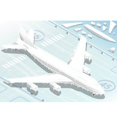 Isometric frozen airplane in front view vector