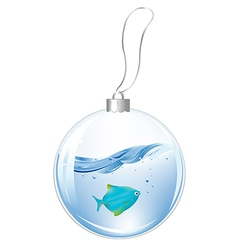 New year ball with blue fish in water vector