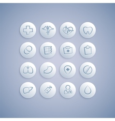 Set of medical icons on pills vector