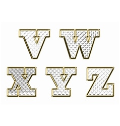 English alphabet gold text vector