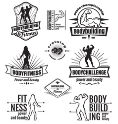Bodybuilding emblems vector