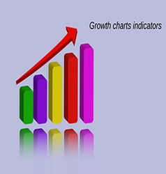 Growth charts indicators with reflection vector