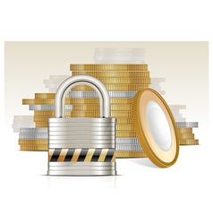 Gold coins and lock vector