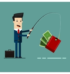Businessman catching money with fishing rod vector