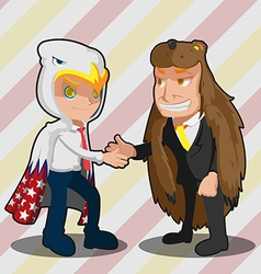 Mascot business man eagle bear shake hand vector