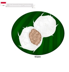 Klepon or indonesian sweet pandanus rice cake vector