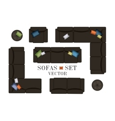 Sofas armchair set furniture pouf carpet tv vector