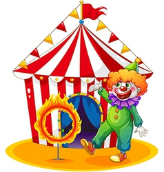 A tent at the back of the clown and the ring of vector image