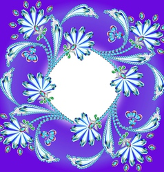 background frame with flowers made of precious sto vector image vector image