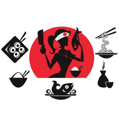 beautiful sushi chief asian food silhouettes vector image