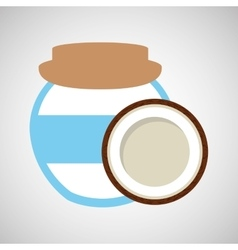 Big jar jam coconut icon design vector