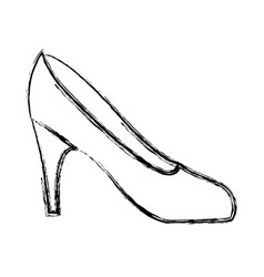 Blurred silhouette drawing of high heel shoe vector