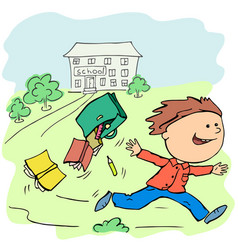 Boy joyfully escapes from school on vacation vector