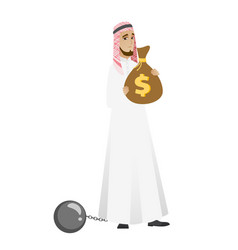 Chained muslim businessman with bag full of taxes vector