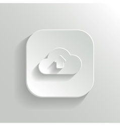 Cloud upload icon - white app button vector image vector image