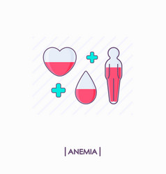 Collection of anemia icons heart drop and human vector