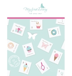 Cute template for notebook cover for girls my vector