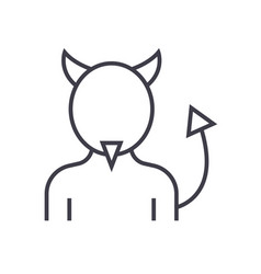 devil line icon sign on vector image
