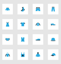 Dress colorful icons set collection of vest vector