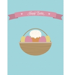 Easter posterEaster basket with eggs and vector image vector image