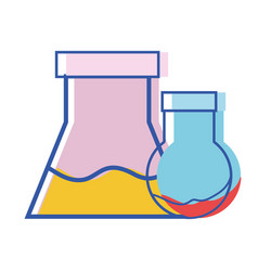 Erlenmeyer flask to scientific experiment lab vector