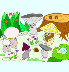 family of mushrooms in the forest color book for vector image vector image