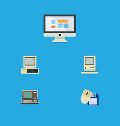 Flat icon laptop set of display technology vector