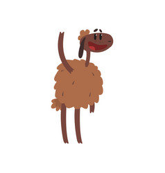 Funny brown sheep character standing with raised vector