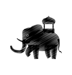 Hand drawing indian elephant vector