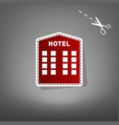 Hotel sign red icon with for applique vector