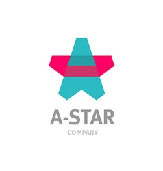 Letter A star shaped overlay logo template vector image vector image
