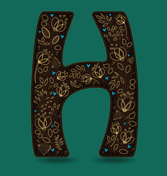 Letter h with golden floral decor vector