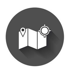 Location icon pin with map flat icon with long vector