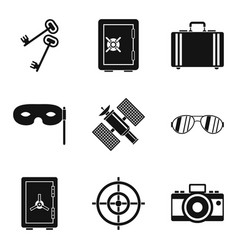 Masquerade icons set simple style vector