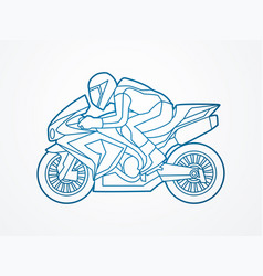 motorcycle racing side view graphic vector image