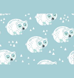 Polar bears seamless pattern in white and blue vector