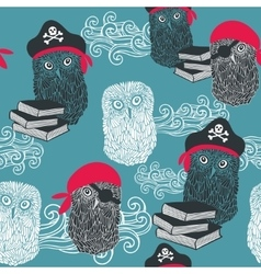 Seamless background with cute owls vector