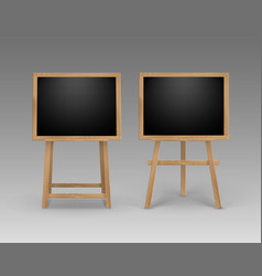 set of easels with mock up black boards vector image