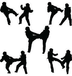 taekwondo woman silhouette vector image vector image